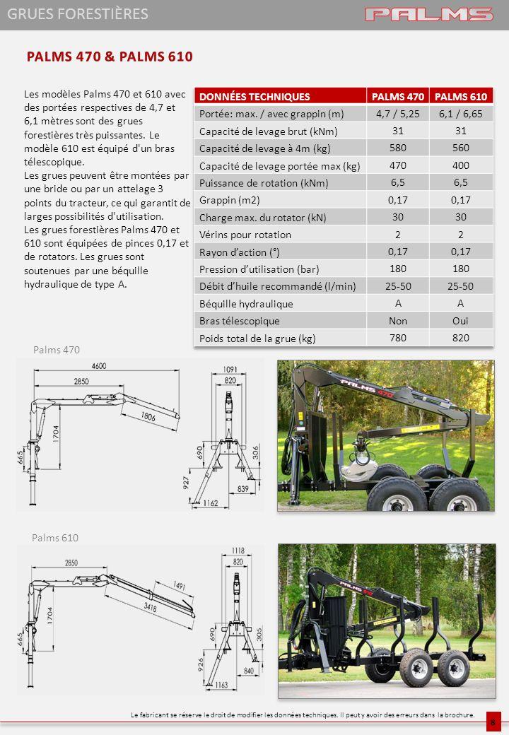 Les modèles Palms 470 et 610 avec des portées respectives de 4,7 et 6,1 mètres sont des grues forestières très puissantes. Le modèle 610 est équipé d'