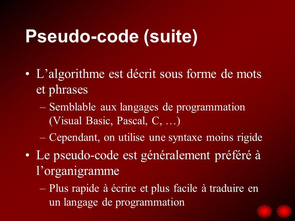 Pseudo-code (suite) Lalgorithme est décrit sous forme de mots et phrases –Semblable aux langages de programmation (Visual Basic, Pascal, C, …) –Cependant, on utilise une syntaxe moins rigide Le pseudo-code est généralement préféré à lorganigramme –Plus rapide à écrire et plus facile à traduire en un langage de programmation