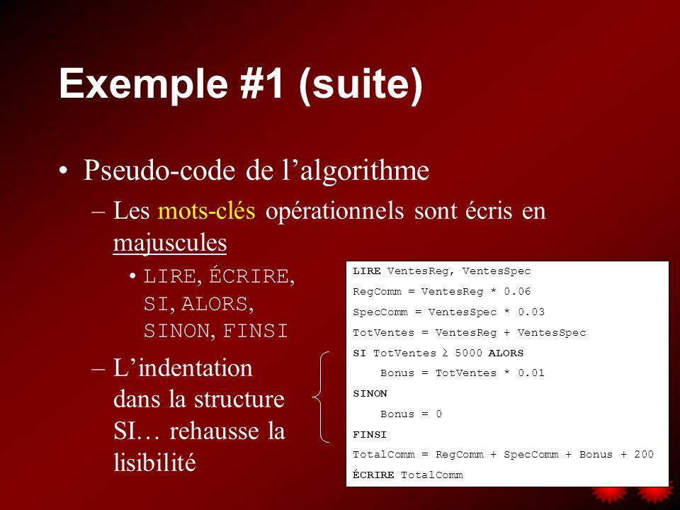 Exemple #1 (suite) Pseudo-code de lalgorithme –Les mots-clés opérationnels sont écris en majuscules LIRE, ÉCRIRE, SI, ALORS, SINON, FINSI –Lindentation dans la structure SI… rehausse la lisibilité LIRE VentesReg, VentesSpec RegComm = VentesReg * 0.06 SpecComm = VentesSpec * 0.03 TotVentes = VentesReg + VentesSpec SI TotVentes 5000 ALORS Bonus = TotVentes * 0.01 SINON Bonus = 0 FINSI TotalComm = RegComm + SpecComm + Bonus + 200 ÉCRIRE TotalComm