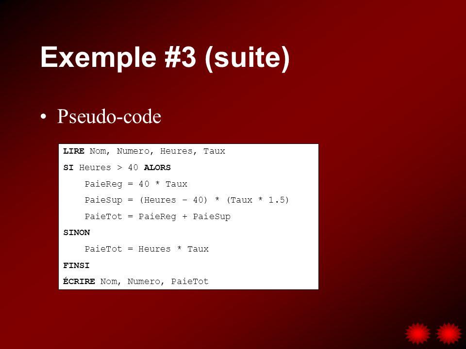 Exemple #3 (suite) Pseudo-code LIRE Nom, Numero, Heures, Taux SI Heures > 40 ALORS PaieReg = 40 * Taux PaieSup = (Heures – 40) * (Taux * 1.5) PaieTot = PaieReg + PaieSup SINON PaieTot = Heures * Taux FINSI ÉCRIRE Nom, Numero, PaieTot