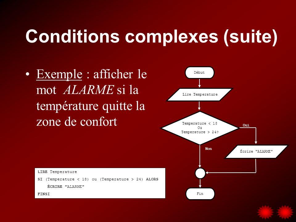Conditions complexes (suite) Exemple : afficher le mot ALARME si la température quitte la zone de confort LIRE Temperature SI (Temperature 24) ALORS ÉCRIRE ALARME FINSI Fin Temperature < 18 Ou Temperature > 24.