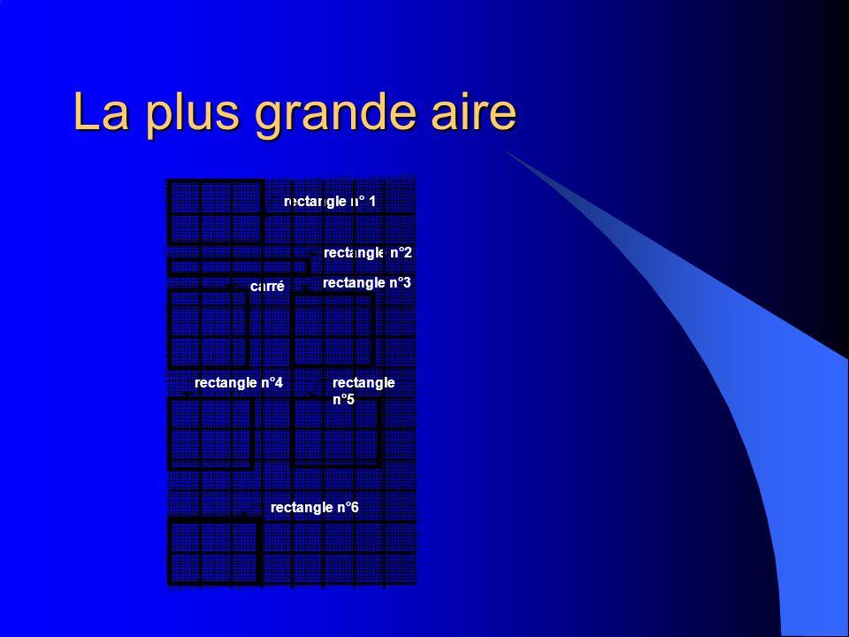 La plus grande aire rectangle n°2 rectangle n° 1 carré rectangle n°3 rectangle n°4rectangle n°5 rectangle n°6