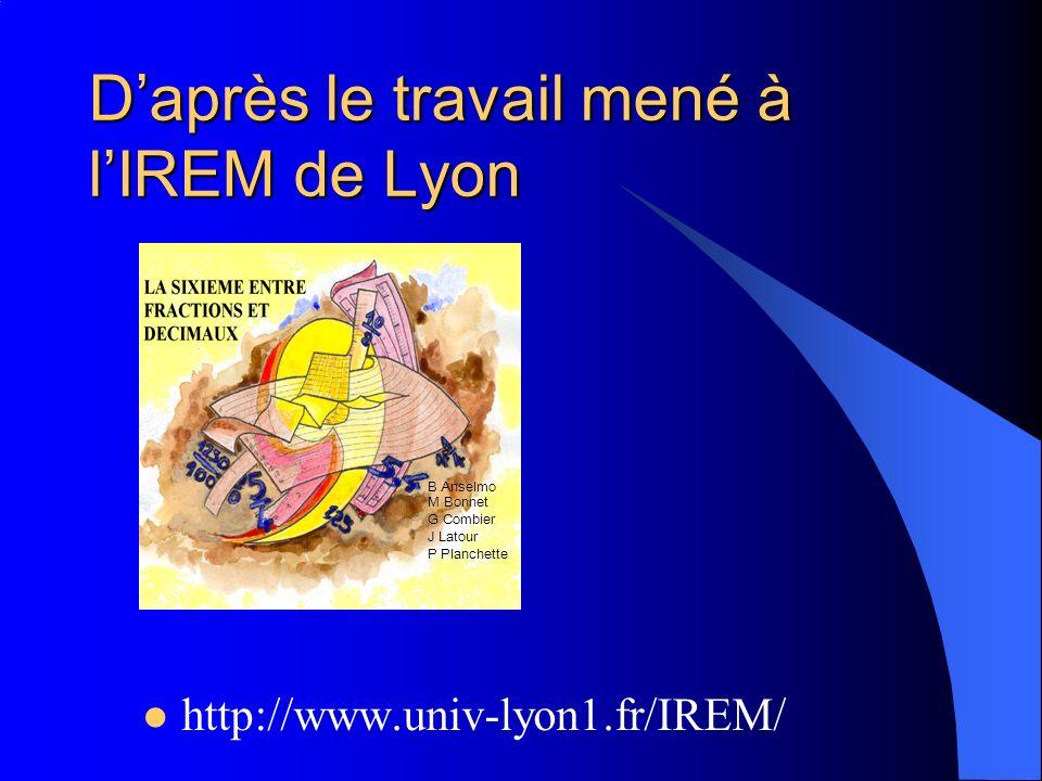 http://www.univ-lyon1.fr/IREM/ Daprès le travail mené à lIREM de Lyon B Anselmo M Bonnet G Combier J Latour P Planchette