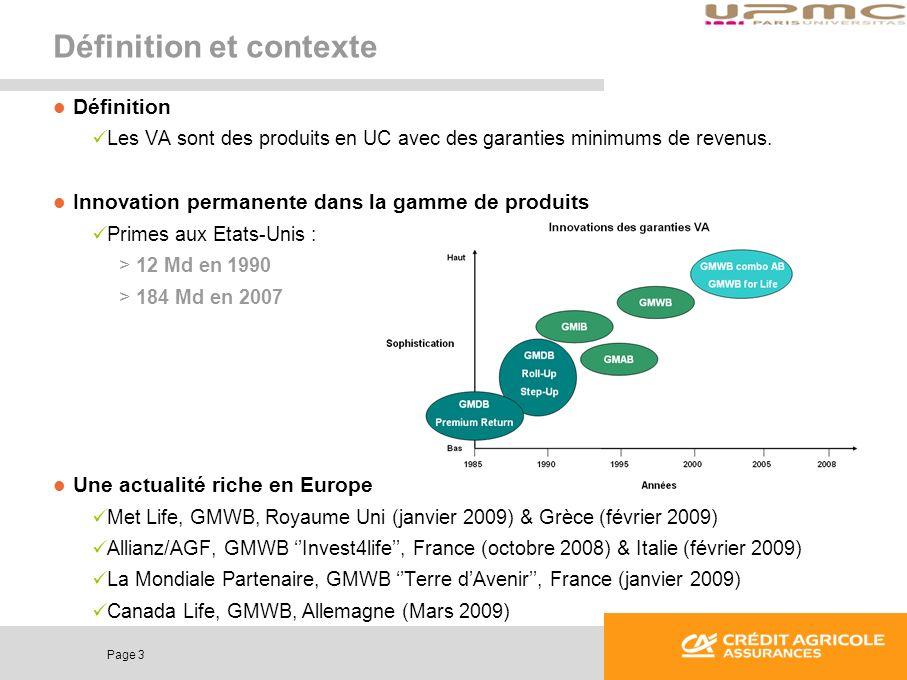 Page 3 Définition et contexte Définition Les VA sont des produits en UC avec des garanties minimums de revenus. Innovation permanente dans la gamme de