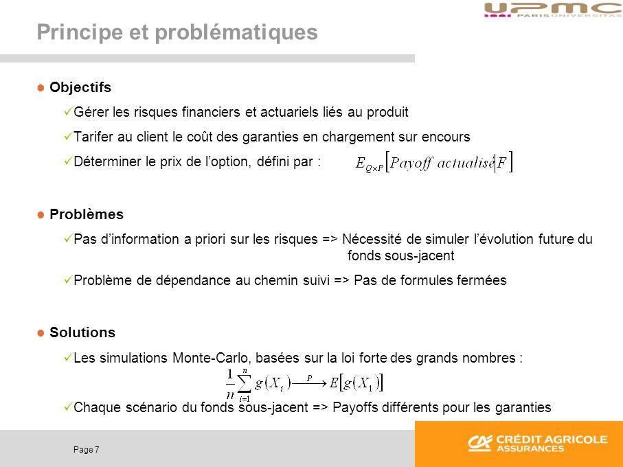 Page 7 Principe et problématiques Objectifs Gérer les risques financiers et actuariels liés au produit Tarifer au client le coût des garanties en char