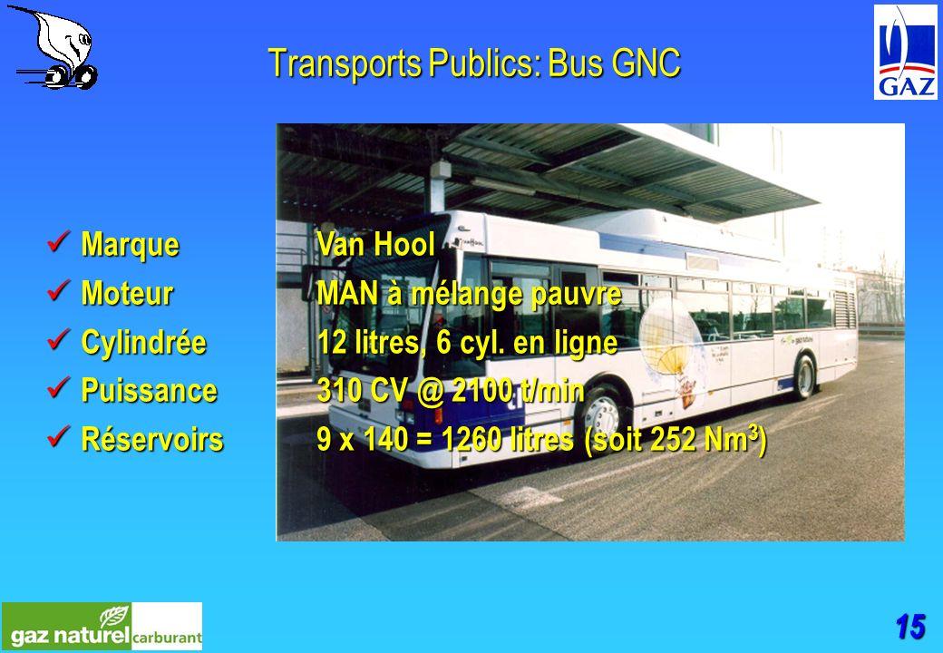 15 Transports Publics: Bus GNC MarqueVan Hool MarqueVan Hool MoteurMAN à mélange pauvre MoteurMAN à mélange pauvre Cylindrée12 litres, 6 cyl.