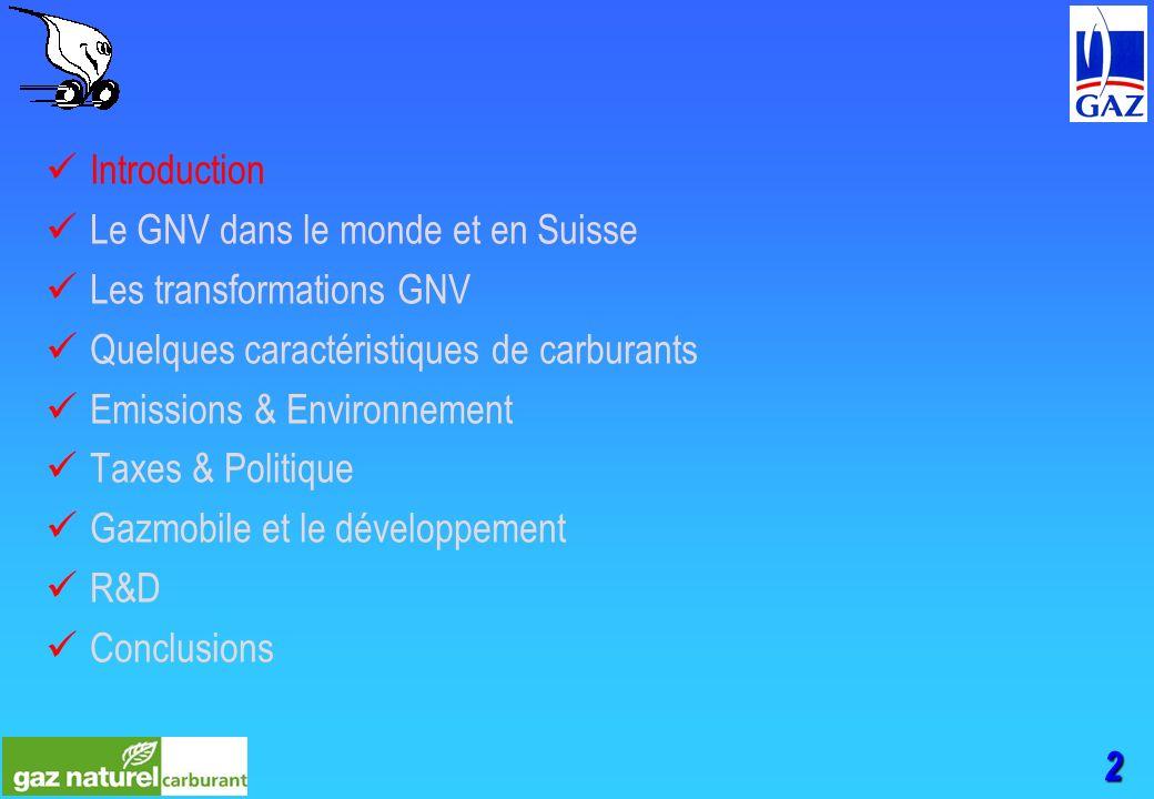 2 Introduction Le GNV dans le monde et en Suisse Les transformations GNV Quelques caractéristiques de carburants Emissions & Environnement Taxes & Politique Gazmobile et le développement R&D Conclusions