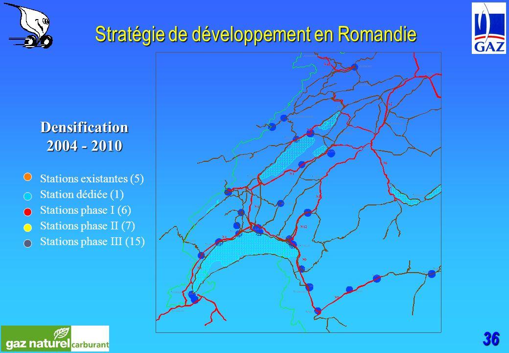 36 Stratégie de développement en Romandie Stations existantes (5) Station dédiée (1) Stations phase I (6) Stations phase II (7) Stations phase III (15) Densification 2004 - 2010