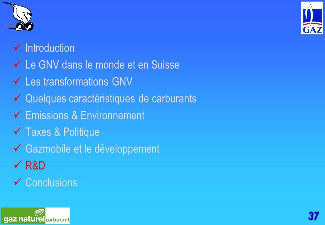 37 Introduction Le GNV dans le monde et en Suisse Les transformations GNV Quelques caractéristiques de carburants Emissions & Environnement Taxes & Politique Gazmobile et le développement R&D Conclusions