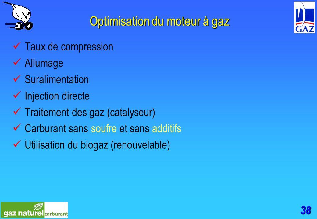 38 Optimisation du moteur à gaz Taux de compression Allumage Suralimentation Injection directe Traitement des gaz (catalyseur) Carburant sans soufre et sans additifs Utilisation du biogaz (renouvelable)