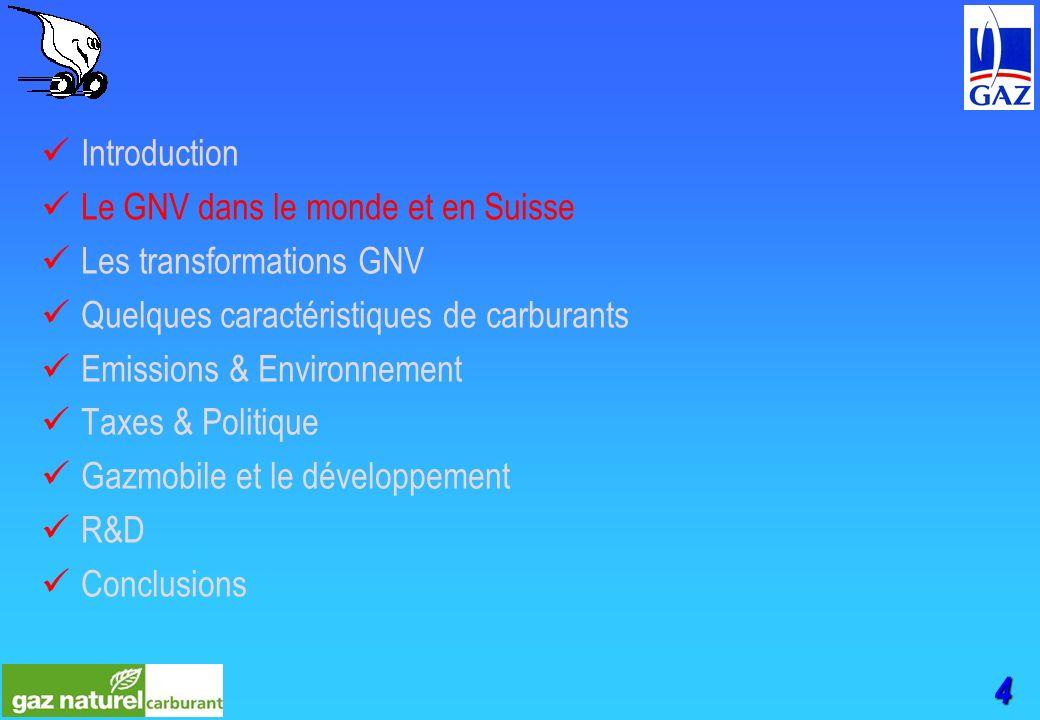 4 Introduction Le GNV dans le monde et en Suisse Les transformations GNV Quelques caractéristiques de carburants Emissions & Environnement Taxes & Politique Gazmobile et le développement R&D Conclusions