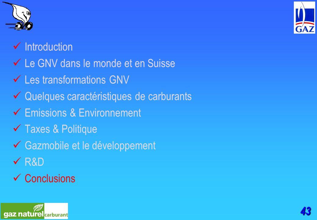 43 Introduction Le GNV dans le monde et en Suisse Les transformations GNV Quelques caractéristiques de carburants Emissions & Environnement Taxes & Politique Gazmobile et le développement R&D Conclusions