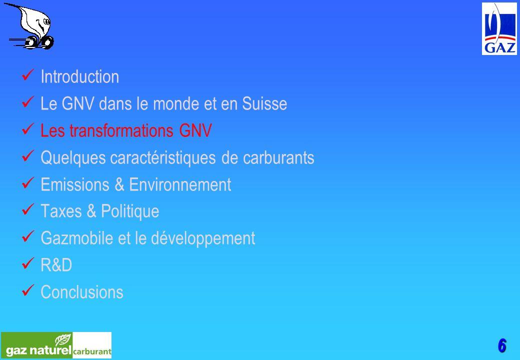 6 Introduction Le GNV dans le monde et en Suisse Les transformations GNV Quelques caractéristiques de carburants Emissions & Environnement Taxes & Politique Gazmobile et le développement R&D Conclusions