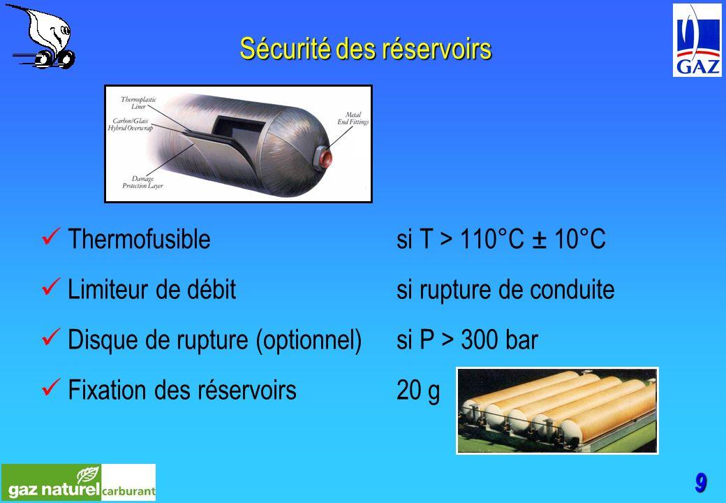 9 Sécurité des réservoirs Thermofusible si T > 110°C ± 10°C Limiteur de débit si rupture de conduite Disque de rupture (optionnel)si P > 300 bar Fixation des réservoirs20 g