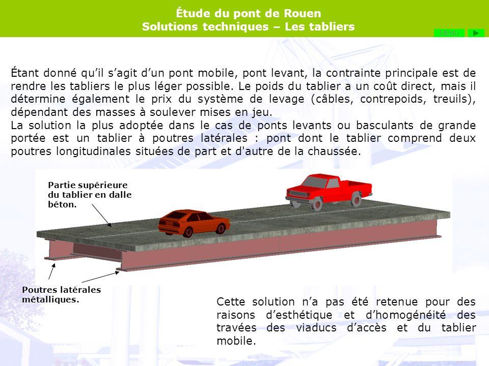 Étude du pont de Rouen Solutions techniques – Les tabliers Étant donné quil sagit dun pont mobile, pont levant, la contrainte principale est de rendre