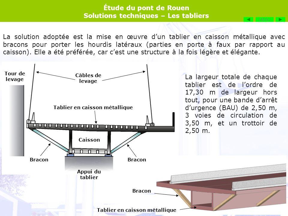 Étude du pont de Rouen Solutions techniques – Les tabliers Tablier en caisson métallique Bracon Tour de levage Appui du tablier Câbles de levage Caiss