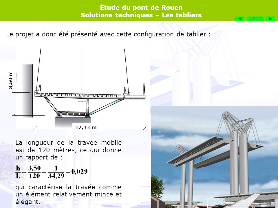 Étude du pont de Rouen Solutions techniques – Les tabliers Le projet a donc été présenté avec cette configuration de tablier : 17,33 m 3,50 m La longu