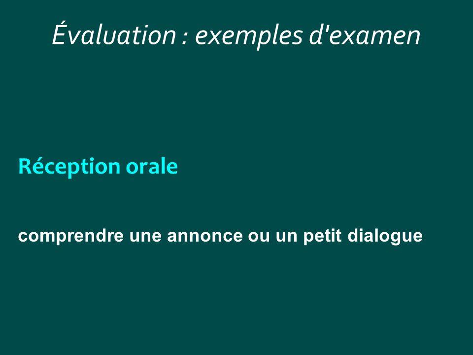 Évaluation : exemples d'examen Réception orale comprendre une annonce ou un petit dialogue