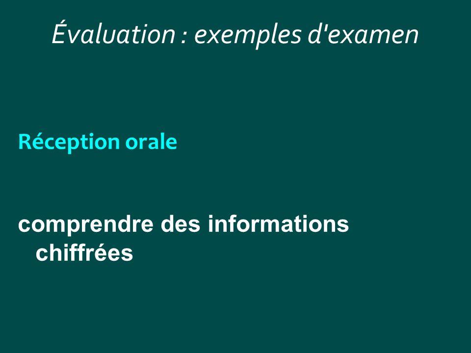 Évaluation : exemples d'examen Réception orale comprendre des informations chiffrées