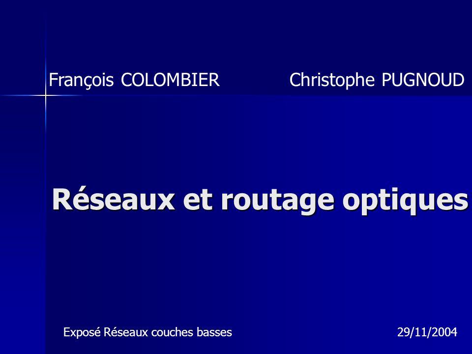 Réseaux et routage optiques François COLOMBIER Christophe PUGNOUD Exposé Réseaux couches basses 29/11/2004