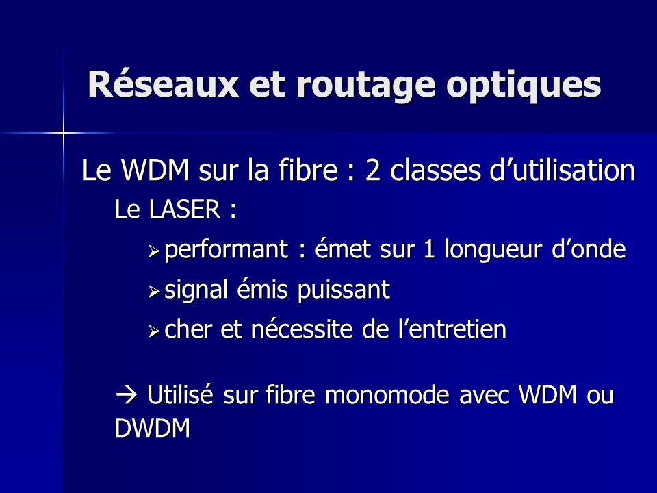Réseaux et routage optiques Le WDM sur la fibre : 2 classes dutilisation Le LASER : p performant : émet sur 1 longueur donde s signal émis puissant c