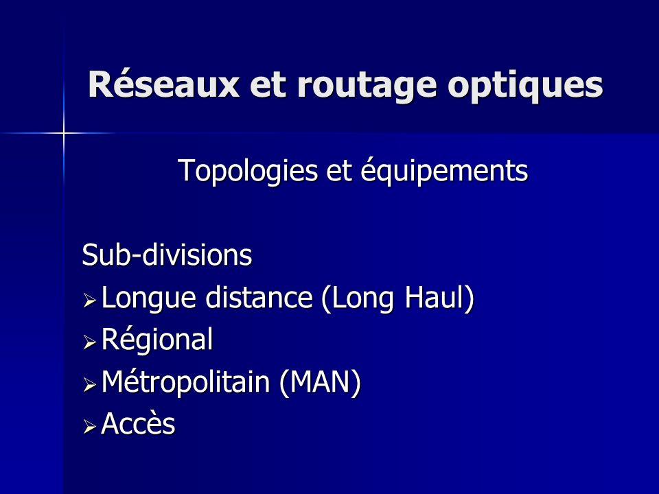 Réseaux et routage optiques Topologies et équipements Sub-divisions Longue distance (Long Haul) Longue distance (Long Haul) Régional Régional Métropol