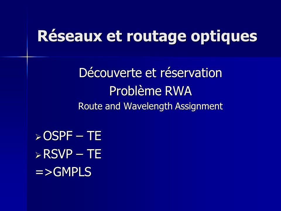 Réseaux et routage optiques Découverte et réservation Problème RWA Route and Wavelength Assignment OSPF – TE OSPF – TE RSVP – TE RSVP – TE=>GMPLS
