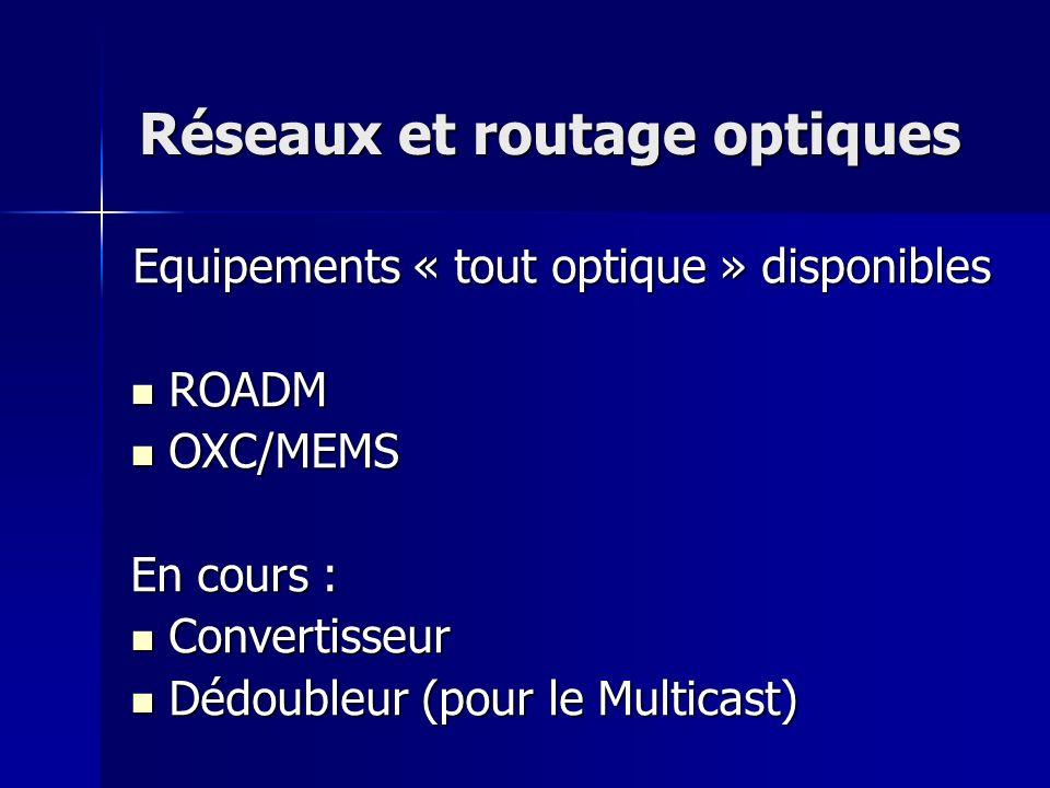 Réseaux et routage optiques Equipements « tout optique » disponibles ROADM ROADM OXC/MEMS OXC/MEMS En cours : Convertisseur Convertisseur Dédoubleur (