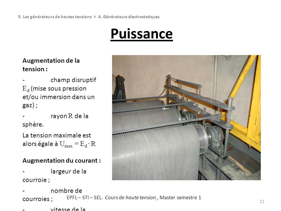 Puissance 11 Augmentation de la tension : -champ disruptif E d (mise sous pression et/ou immersion dans un gaz) ; -rayon R de la sphère. La tension ma
