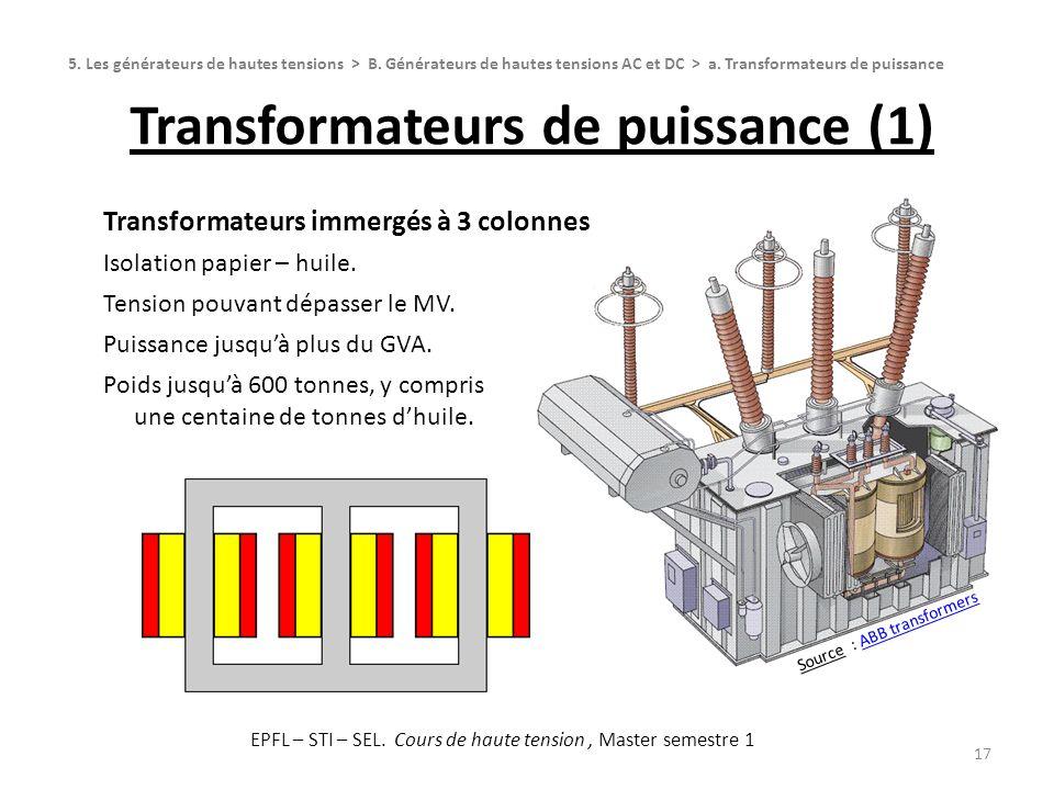 Transformateurs de puissance (1) 17 Transformateurs immergés à 3 colonnes Isolation papier – huile. Tension pouvant dépasser le MV. Puissance jusquà p