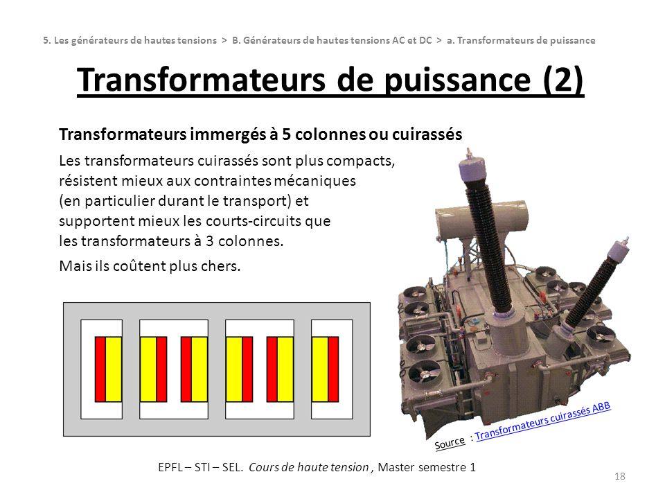 Source : Transformateurs cuirassés ABBTransformateurs cuirassés ABB Transformateurs de puissance (2) 18 Transformateurs immergés à 5 colonnes ou cuira