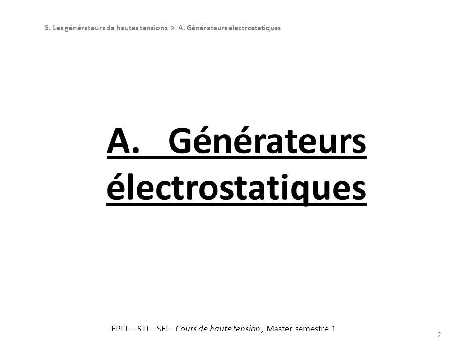 Générateurs électrostatiques 3 Définition :Le générateur électrostatique est un dispositif qui convertit lénergie mécanique en énergie électrostatique emmagasinée dans un milieu diélectrique.