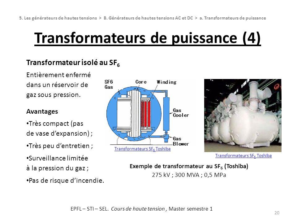 Transformateurs de puissance (4) 20 Transformateur isolé au SF 6 Entièrement enfermé dans un réservoir de gaz sous pression. Avantages Très compact (p