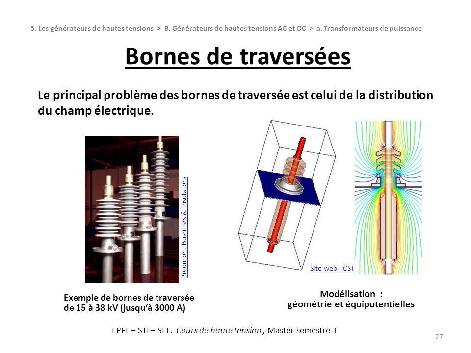 Bornes de traversées 27 Le principal problème des bornes de traversée est celui de la distribution du champ électrique. 5. Les générateurs de hautes t