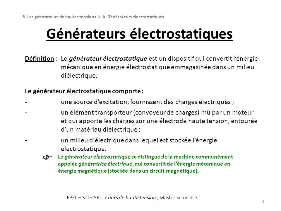 Générateurs électrostatiques 3 Définition :Le générateur électrostatique est un dispositif qui convertit lénergie mécanique en énergie électrostatique