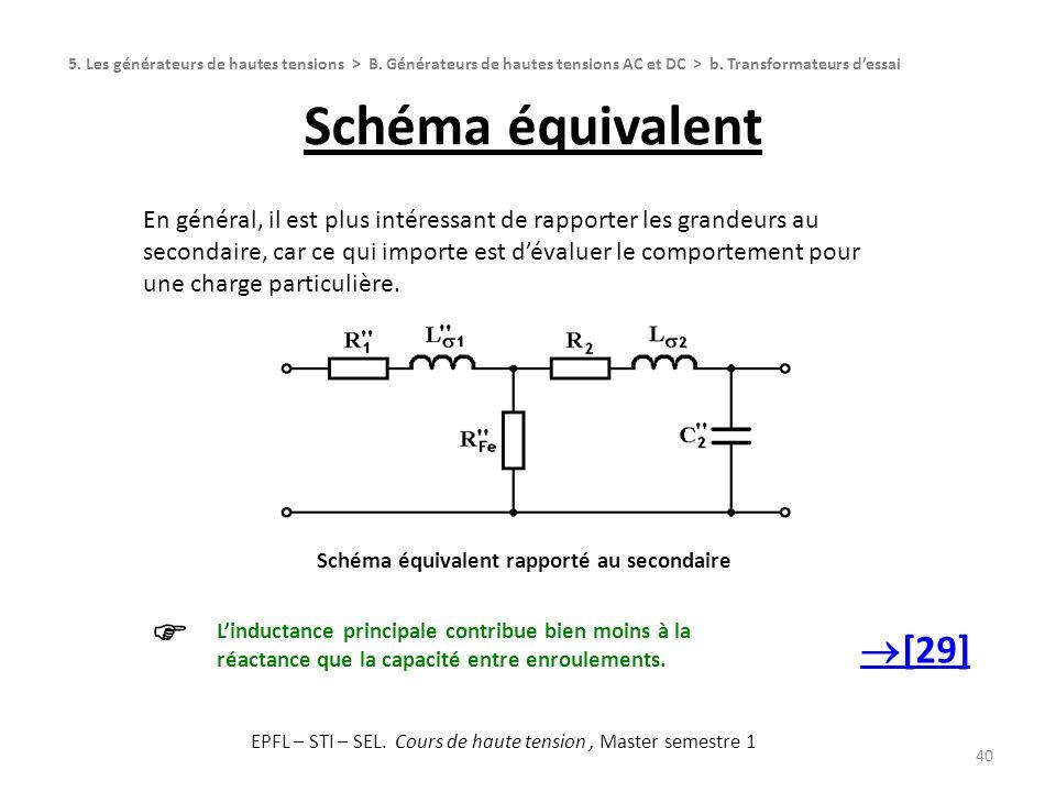 Schéma équivalent 40 Schéma équivalent rapporté au secondaire 5. Les générateurs de hautes tensions > B. Générateurs de hautes tensions AC et DC > b.