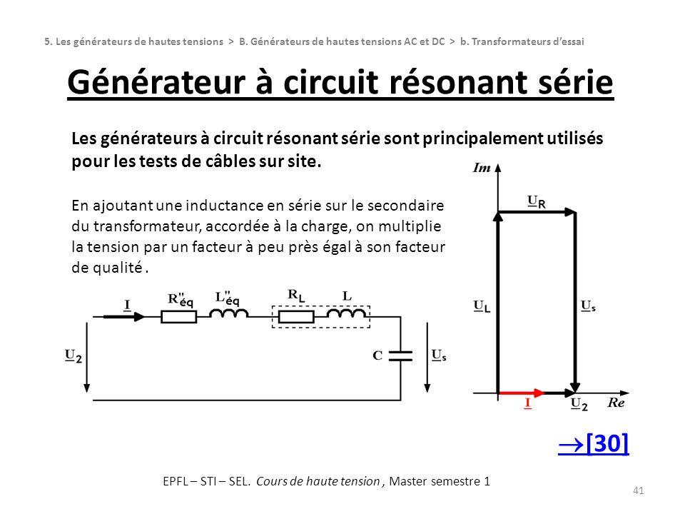 Générateur à circuit résonant série 41 5. Les générateurs de hautes tensions > B. Générateurs de hautes tensions AC et DC > b. Transformateurs dessai