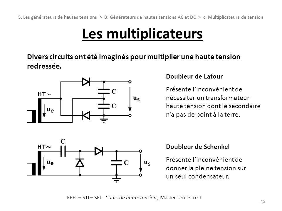 Les multiplicateurs 45 Divers circuits ont été imaginés pour multiplier une haute tension redressée. Doubleur de Latour Présente linconvénient de néce
