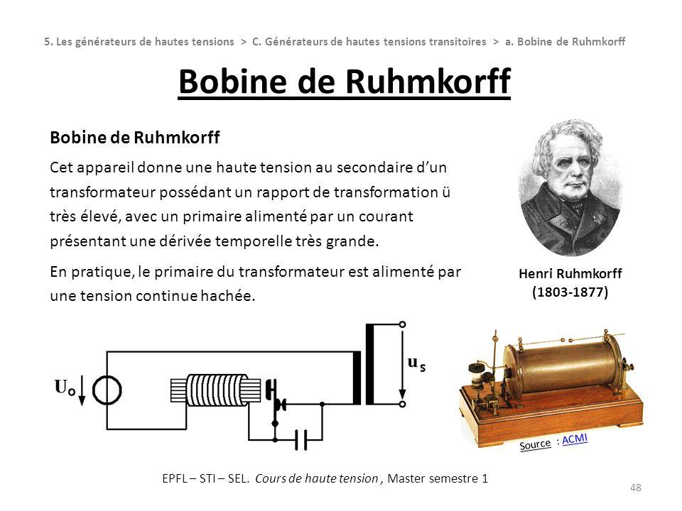Bobine de Ruhmkorff 48 Henri Ruhmkorff (1803-1877) Bobine de Ruhmkorff Cet appareil donne une haute tension au secondaire dun transformateur possédant