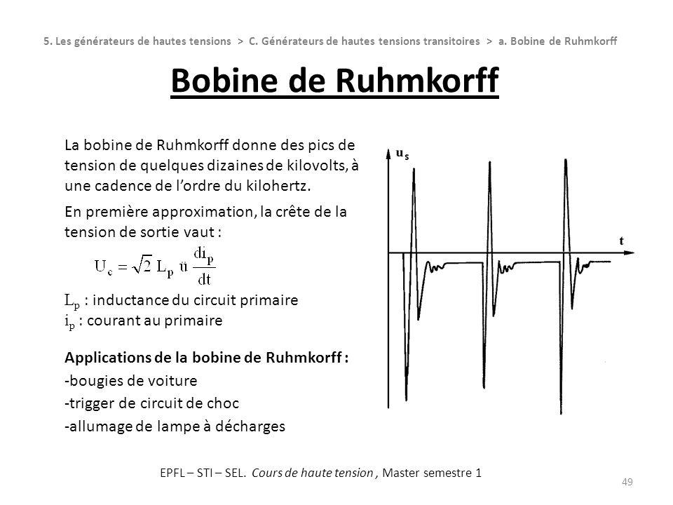 Bobine de Ruhmkorff 49 5. Les générateurs de hautes tensions > C. Générateurs de hautes tensions transitoires > a. Bobine de Ruhmkorff La bobine de Ru