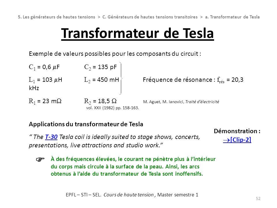 Exemple de valeurs possibles pour les composants du circuit : C 1 = 0,6 F C 2 = 135 pF L 1 = 103 H L 2 = 450 mH Fréquence de résonance : f rés = 20,3