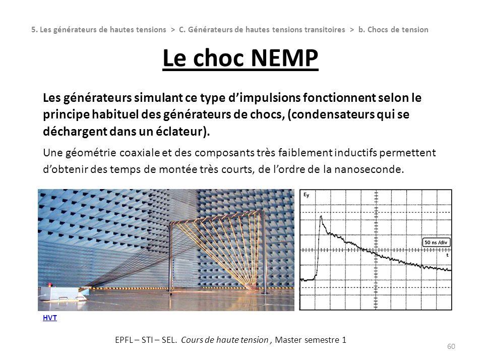 Le choc NEMP 60 Les générateurs simulant ce type dimpulsions fonctionnent selon le principe habituel des générateurs de chocs, (condensateurs qui se d