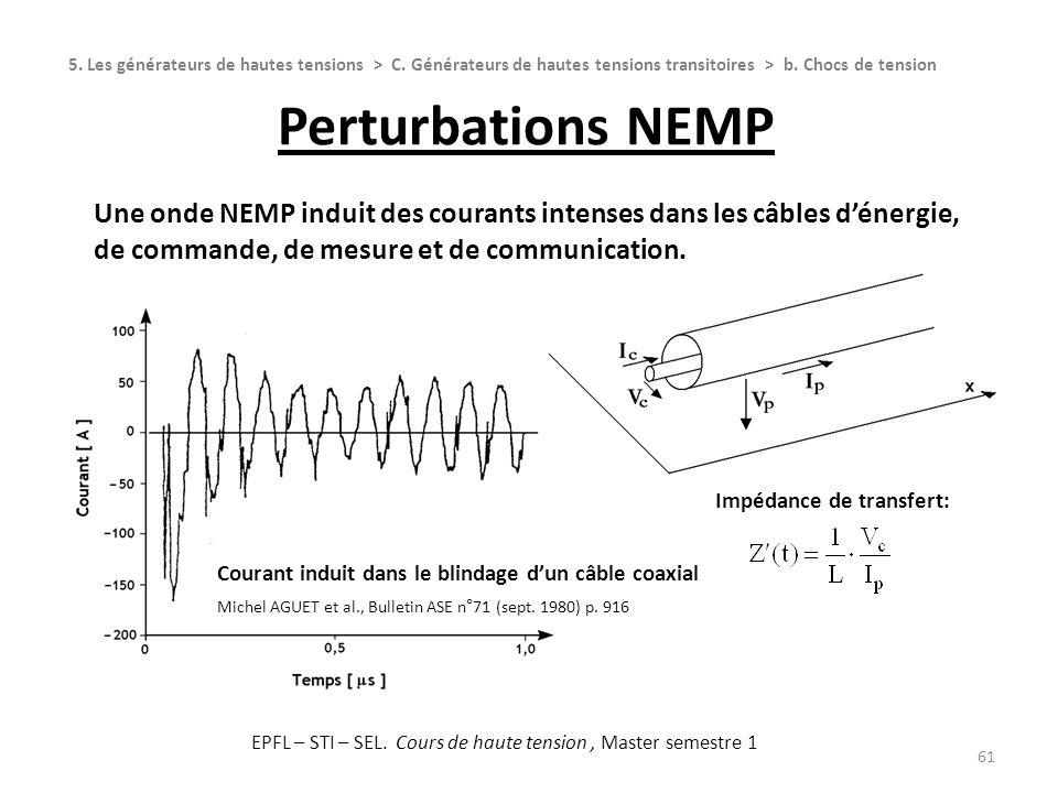 Perturbations NEMP 61 Une onde NEMP induit des courants intenses dans les câbles dénergie, de commande, de mesure et de communication. 5. Les générate
