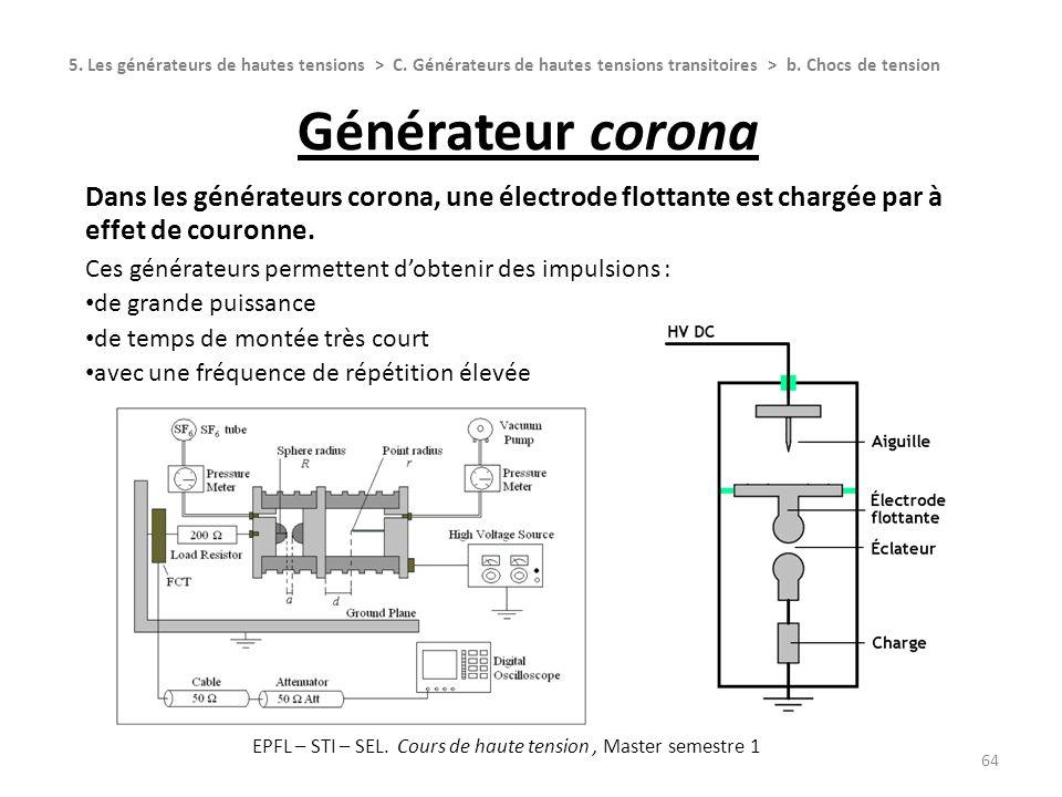 Générateur corona 64 Dans les générateurs corona, une électrode flottante est chargée par à effet de couronne. Ces générateurs permettent dobtenir des