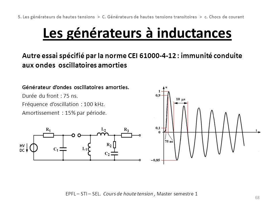 Les générateurs à inductances 68 Autre essai spécifié par la norme CEI 61000-4-12 : immunité conduite aux ondes oscillatoires amorties Générateur dond