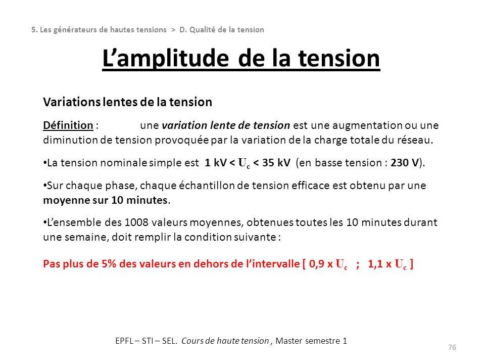 76 Variations lentes de la tension Définition :une variation lente de tension est une augmentation ou une diminution de tension provoquée par la varia