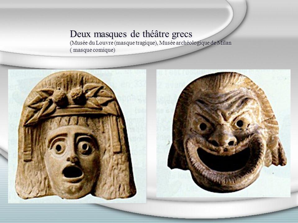Deux masques de théâtre grecs (Musée du Louvre (masque tragique), Musée archéologique de Milan ( masque comique)