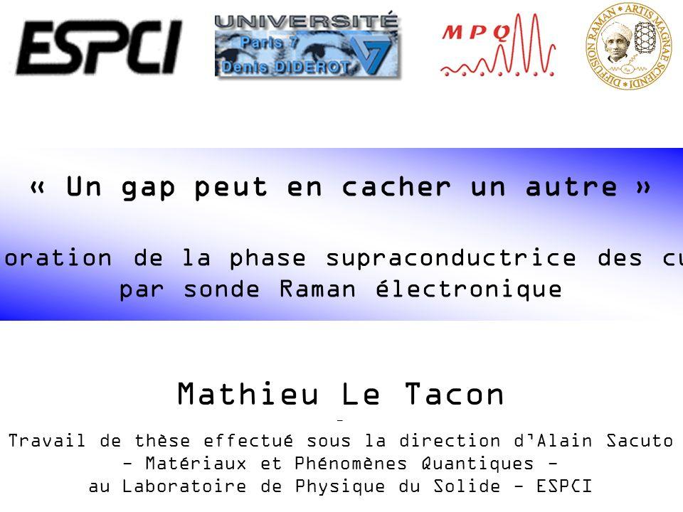 Quelques propriétés des cuprates supraconducteurs Effet des impuretés Gap supraconducteur et pseudogap Influence du dopage sur la dynamique des quasiparticules dans létat supraconducteur Nécessité de 2 échelles dénergie pour décrire lévolution du gap dans létat supraconducteur des cuprates Soutenance de thèse – Paris, le 13 Novembre 2006 Notre sonde : la diffusion Raman électronique Principes Dispositif expérimental Plan de lexposé
