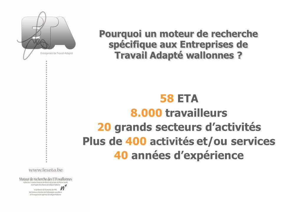 Plus de 400 activités et/ou services Pourquoi un moteur de recherche spécifique aux Entreprises de Travail Adapté wallonnes ? Pourquoi un moteur de re