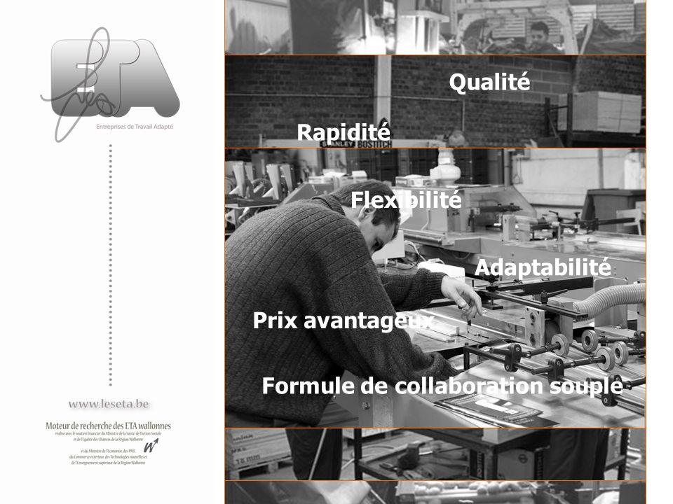 Rapidité Flexibilité Qualité Adaptabilité Prix avantageux Formule de collaboration souple